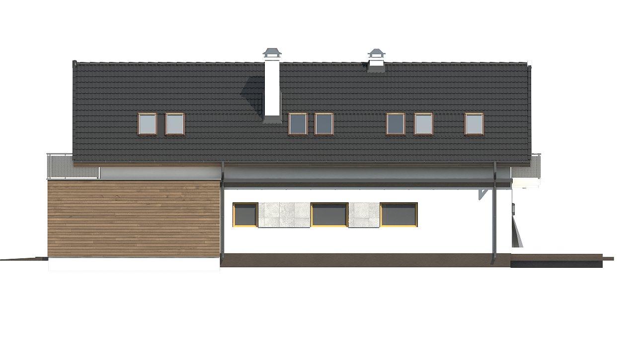 Практичный и уютный дом простой формы для узкого участка с террасой над гаражом. 6