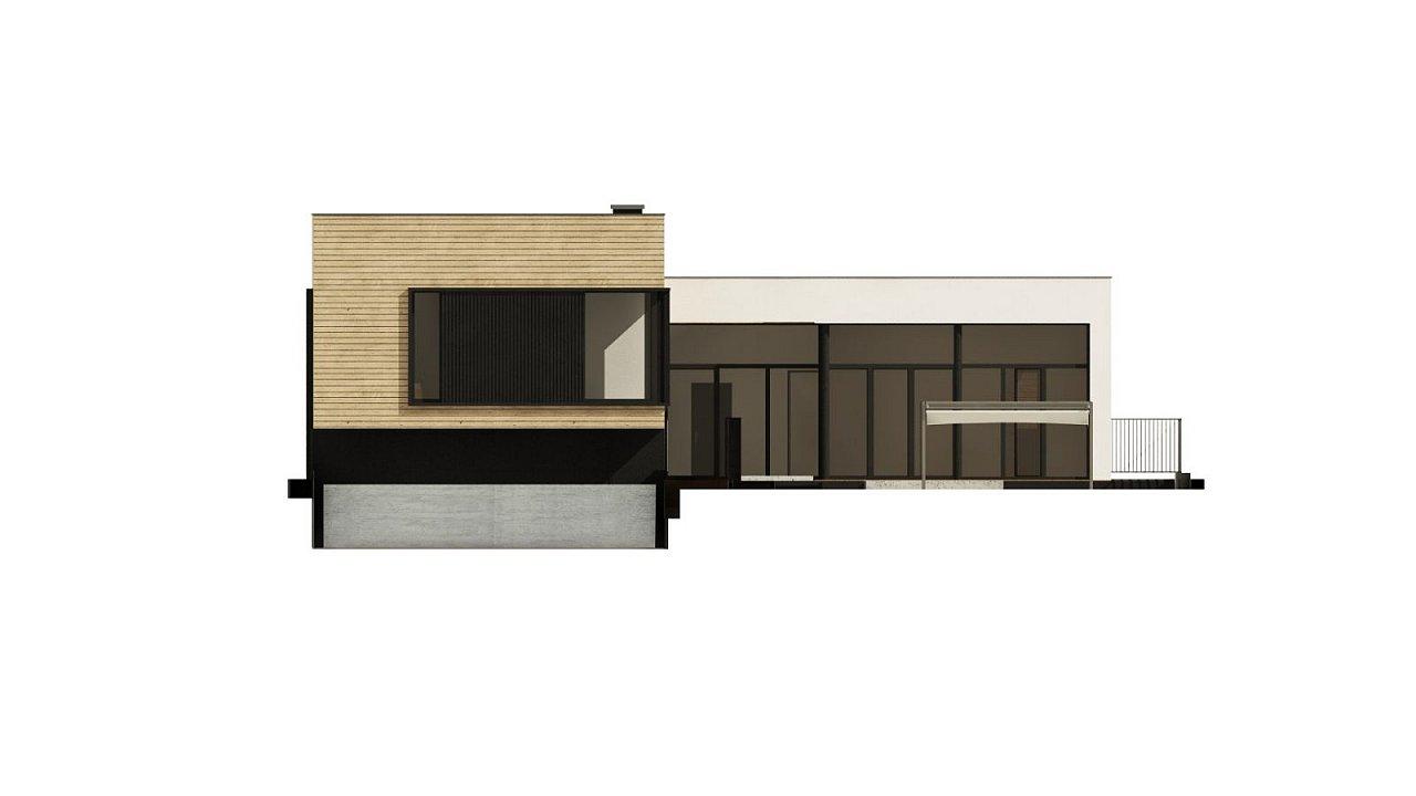 Проект современного дома с плоской кровлей и подземным гаражом. 7