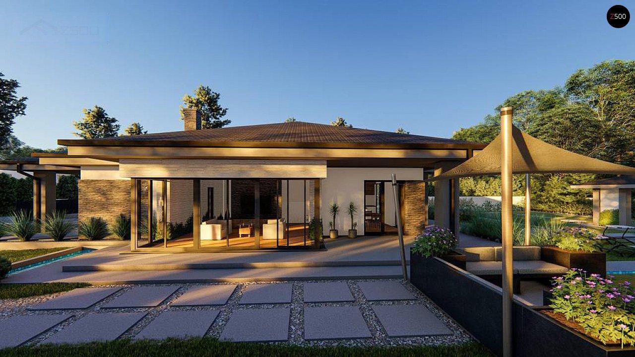 Cовременный одноэтажный дом с многоскатной крышей и гаражом на две машины. 7