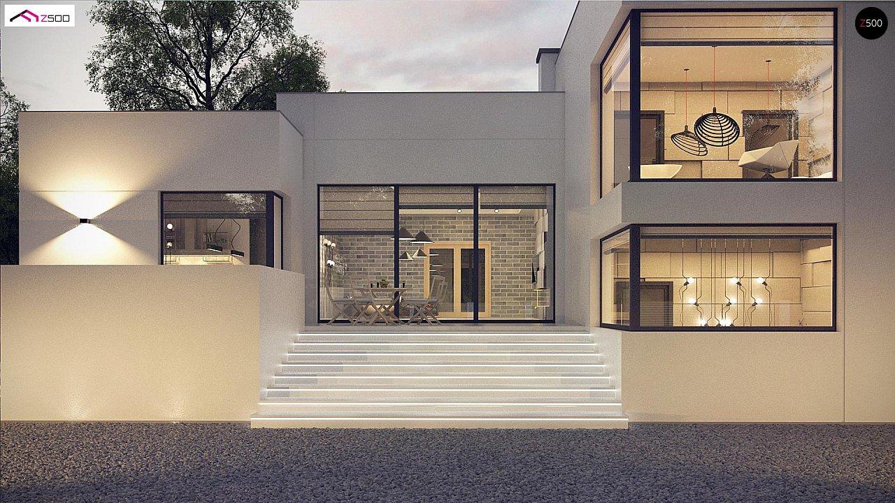 Современный проект с уникальным дизайном, оштукатуренным фасадом и гаражом 2