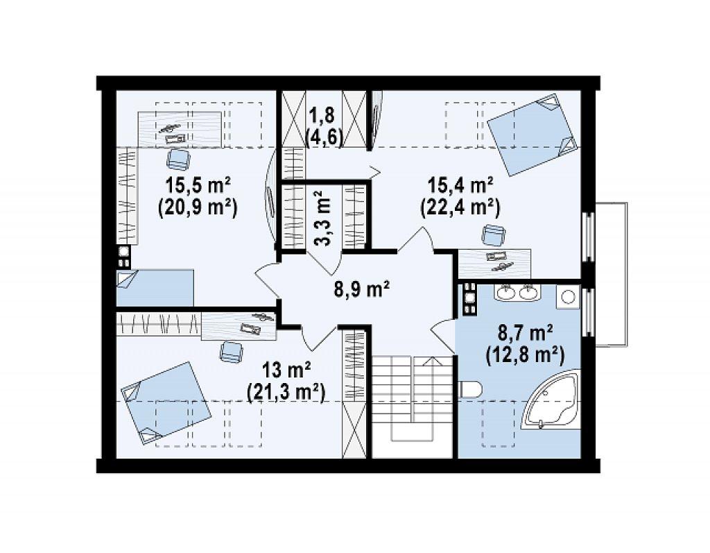 Комфортный дом с гаражом простого аккуратного дизайна. план помещений 2