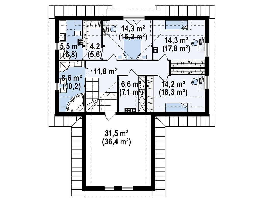 Стильный и аккуратный мансардный дом с гаражом для двух машин. план помещений 2