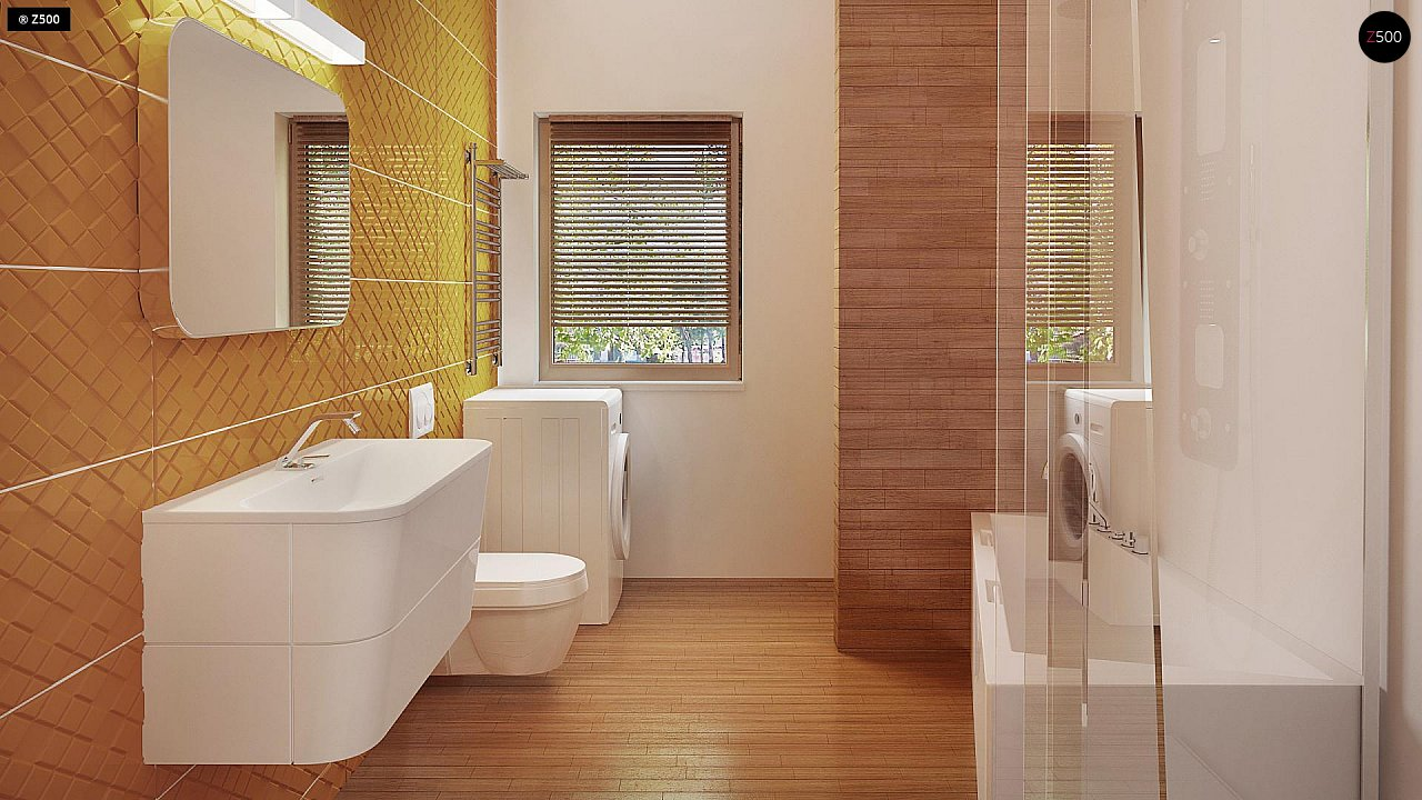 Экономичный в реализации одноэтажный дом с просторной гостиной и двумя спальнями. 10