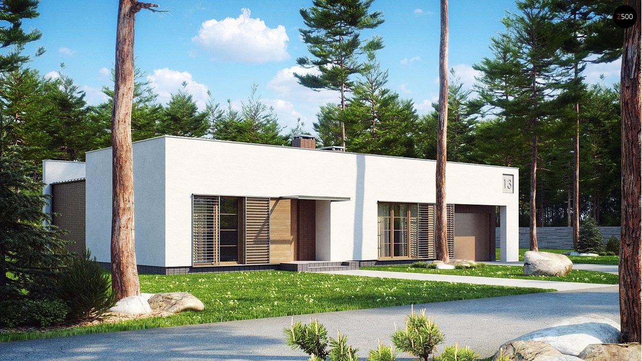 Одноэтажный дом с плоской крышей, со светлым функциональным интерьером и гаражом. 1
