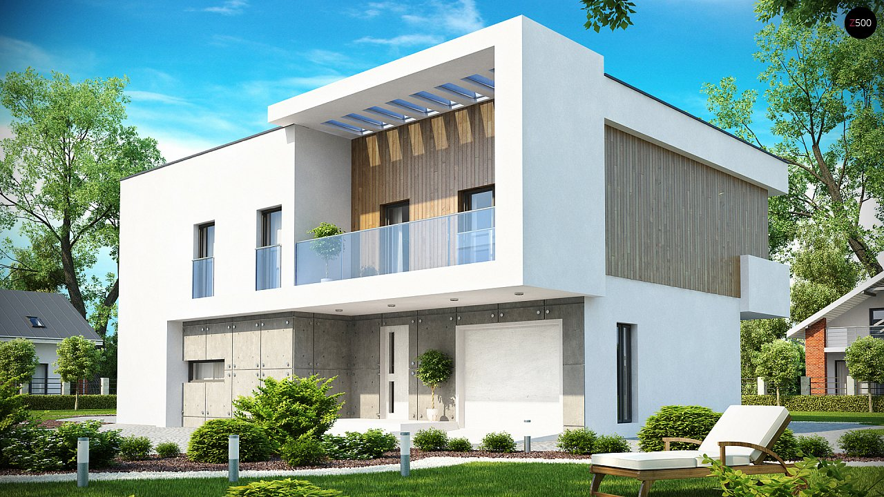 Просторный дом современного дизайна с гаражом и кабинетом на первом этаже. 1