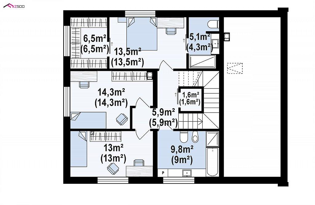 Проект двухэтажного дома с открытой дневной зоной и современным экстерьером. план помещений 2