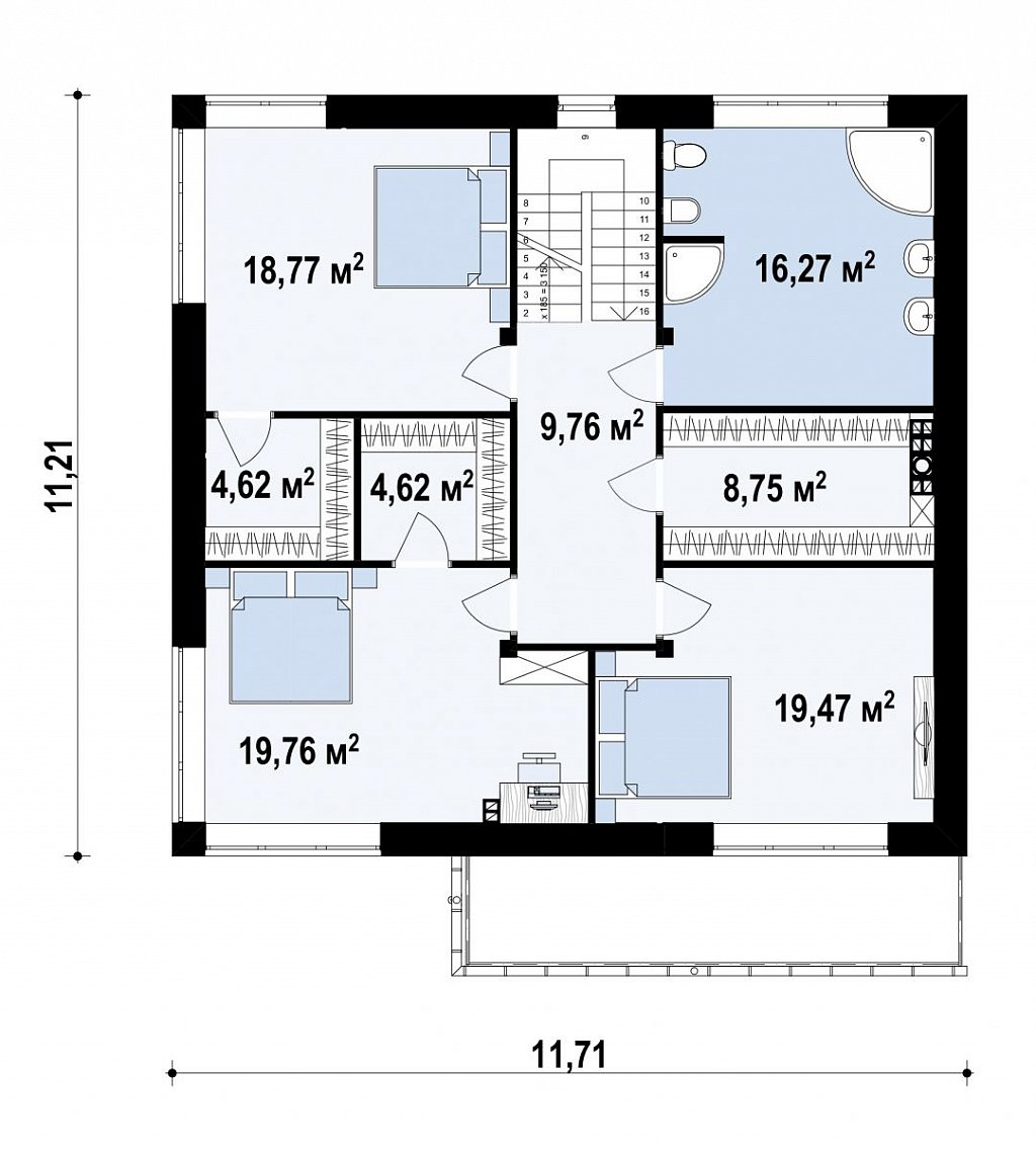 Современный двухэтажный дом с гаражом. план помещений 2