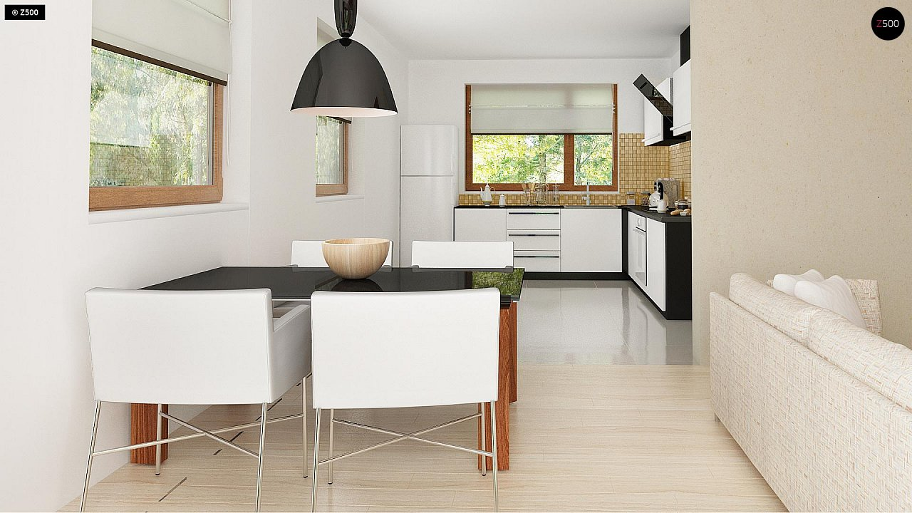 Функциональный традиционный дом с современными элементами в архитектуре, со встроенным гаражом. 7
