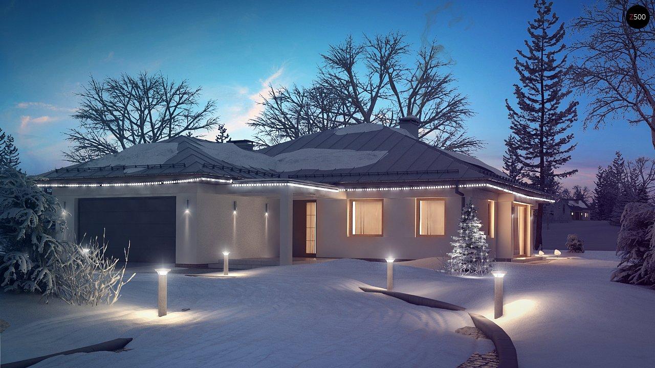 Функциональный одноэтажный дом с фронтальным гаражом для двух авто, большим хозяйственным помещением, с кухней со стороны сада. 4