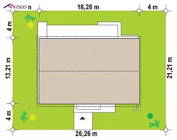 Одноэтажный дом с 4 спальнями, гаражом и 2-х скатной крышей план помещений 1