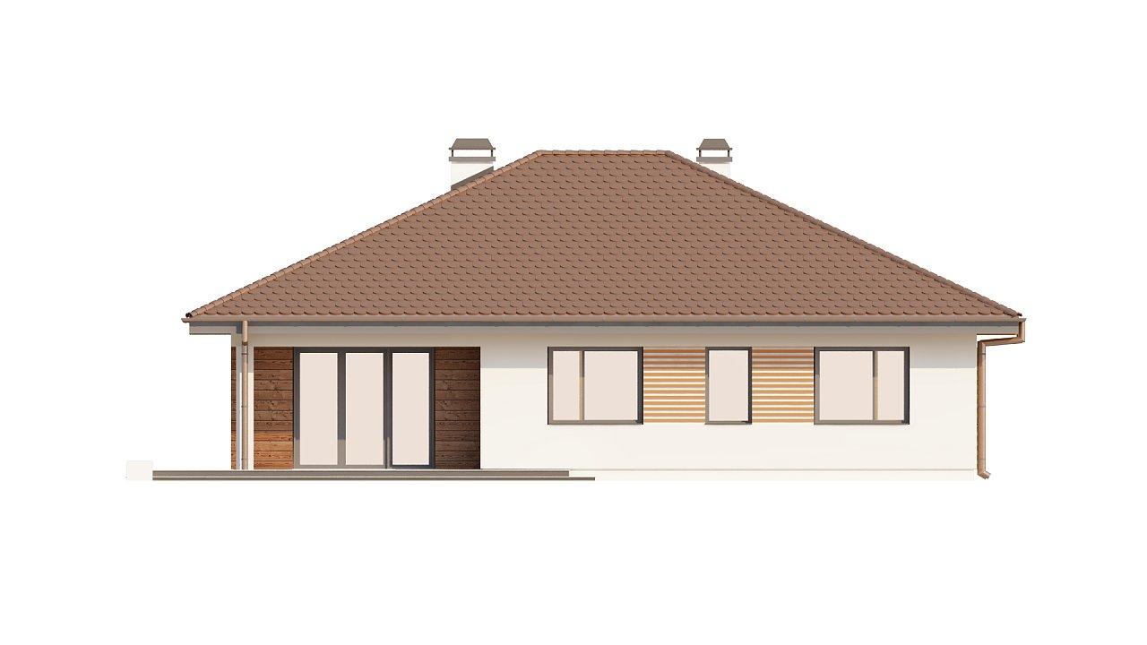 Проект удобного одноэтажного дома с гаражом для двух автомобилей и большим хозяйственным помещением. 23
