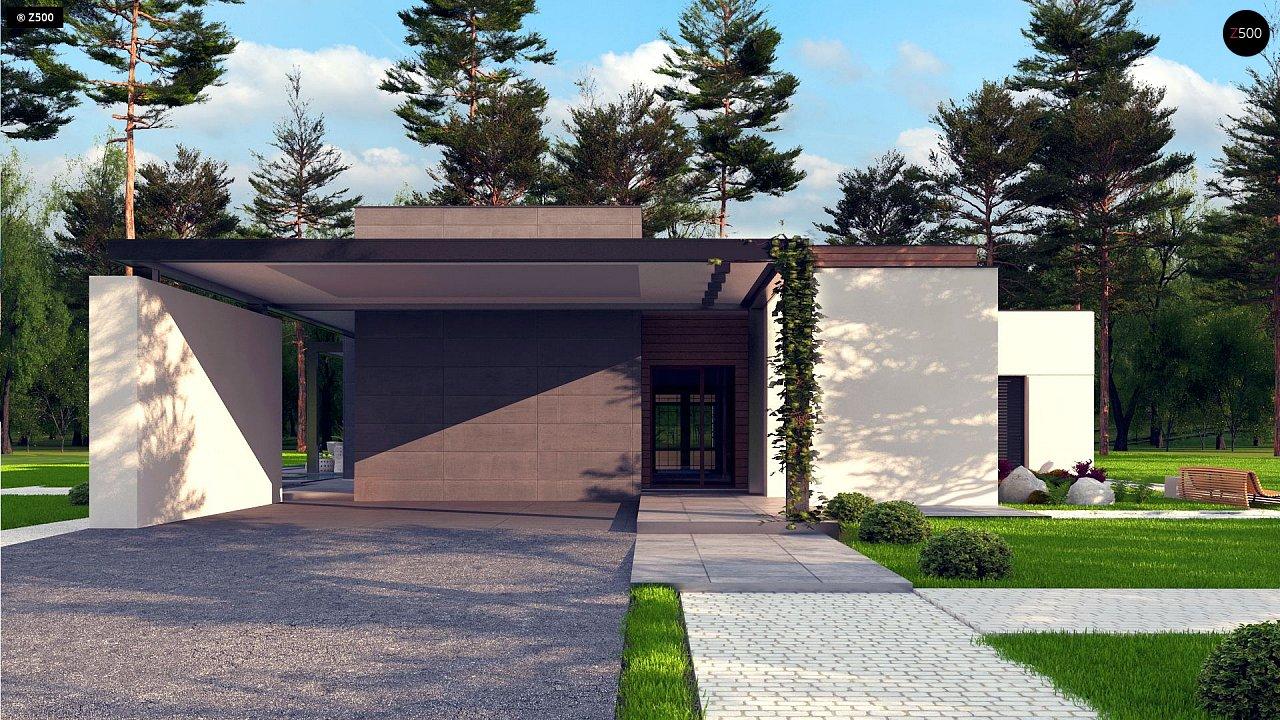 Одноэтажный дом с плоской кровлей в современном стиле и навесом для двух машин 6