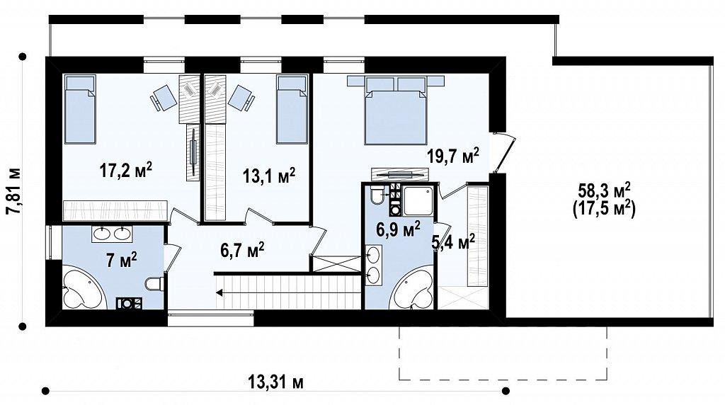 Современный эксклюзивный дом с каменной облицовкой, подходящий для узкого участка. план помещений 2