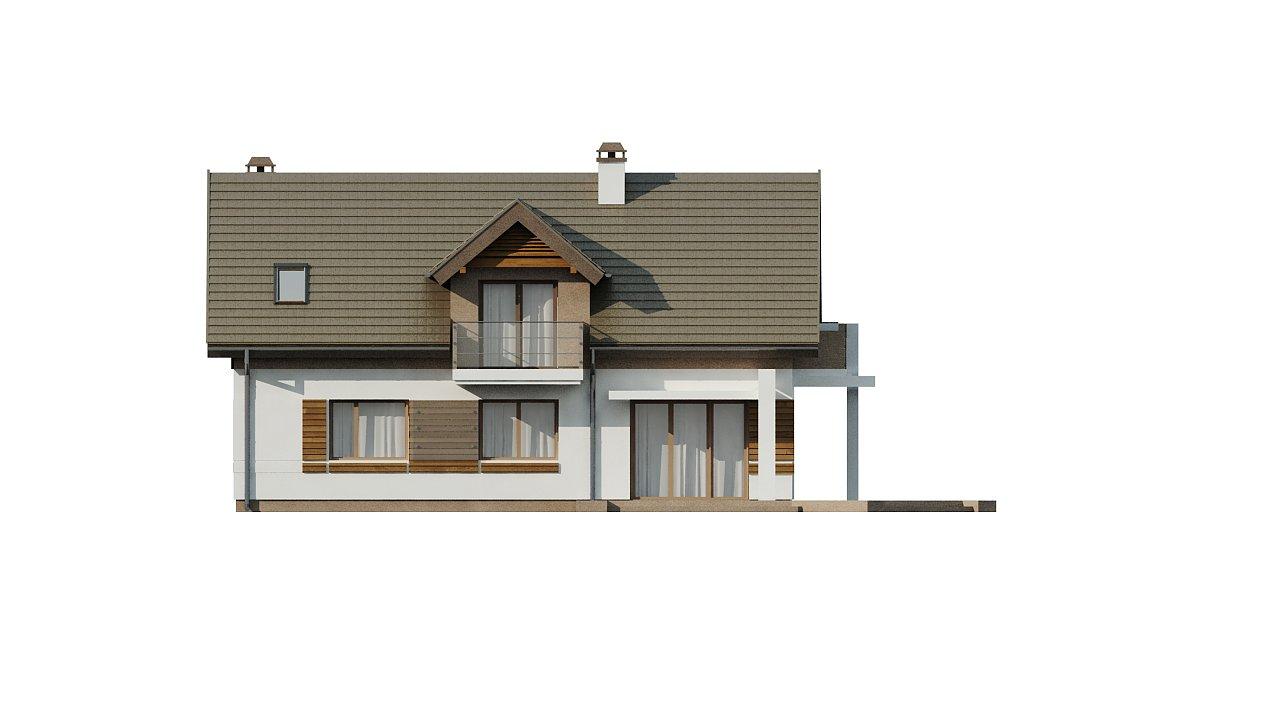 Проект функционального уютного дома с мансардными окнами и оригинальной отделкой фасадов. 18