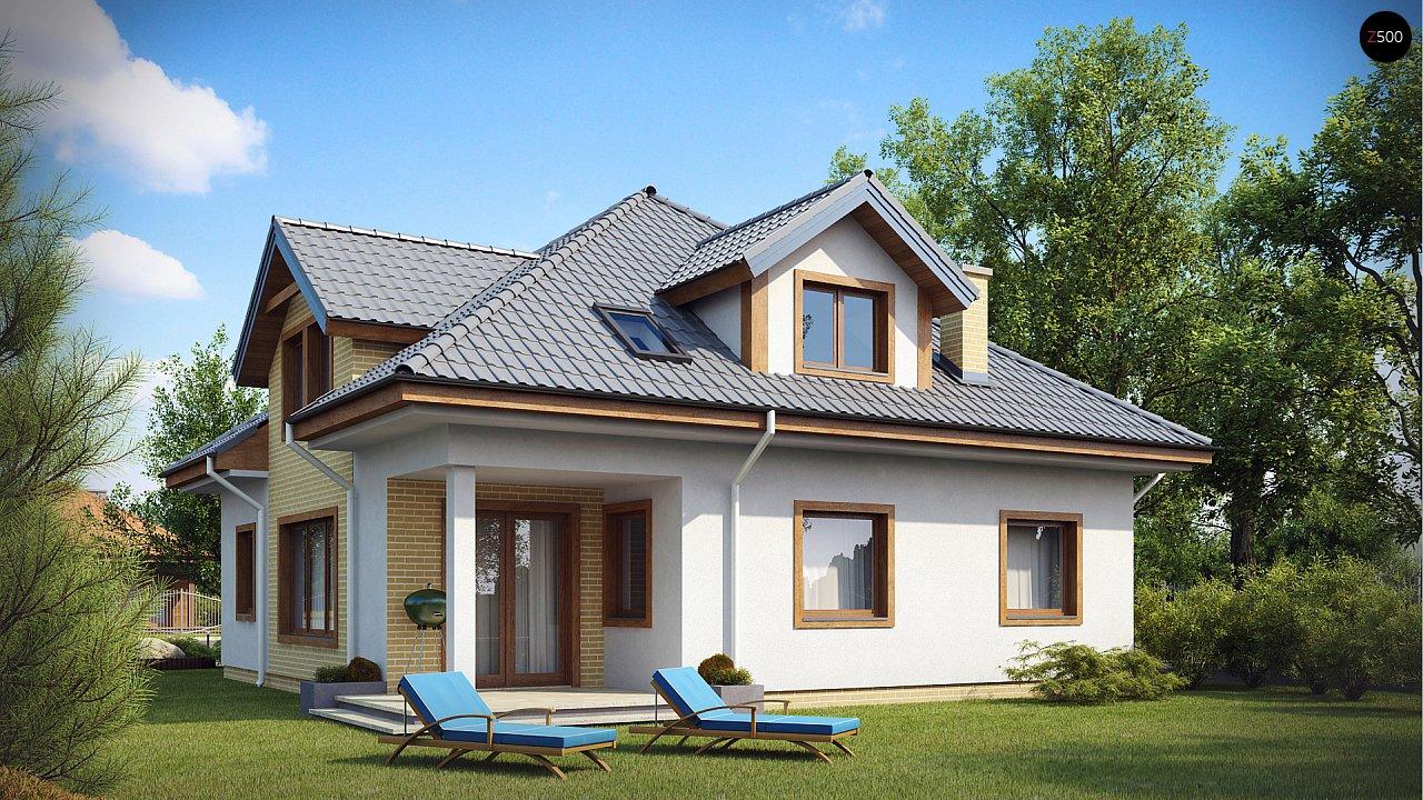 Проект дома с мансардой, с большим техническим помещением и дополнительной спальней на первом этаже. - фото 2