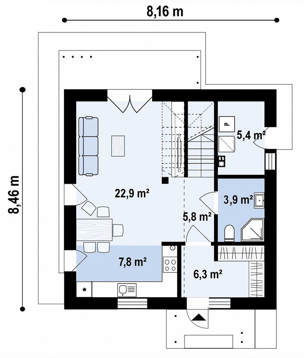 Функциональный двухэтажный дом план помещений 1