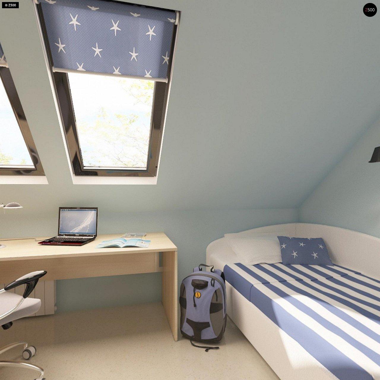 Проект функционального дома с эркером в столовой дополнительной спальней на первом этаже. 12