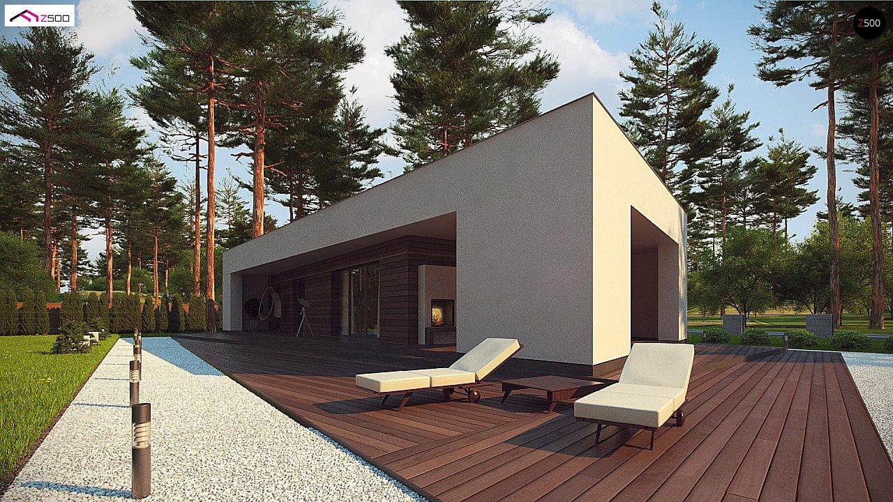 Современный одноэтажный дом с боковой террасой 6