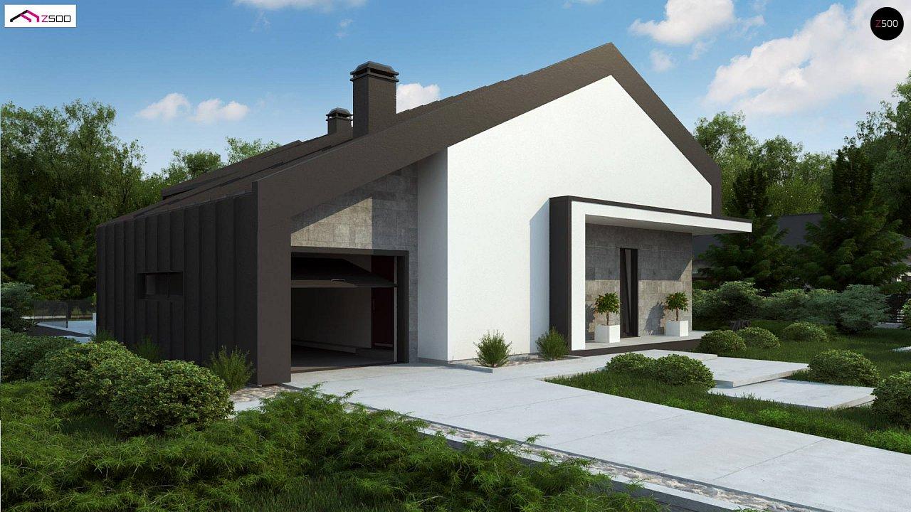 Современный одноэтажный дом с двускатной крышей и большой террасой 5