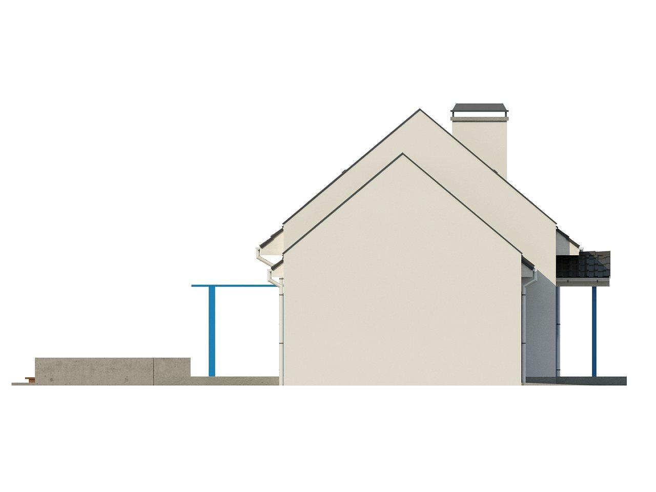 Компактный дом с гаражом для одной машины, с большими окнами в гостиной. 17