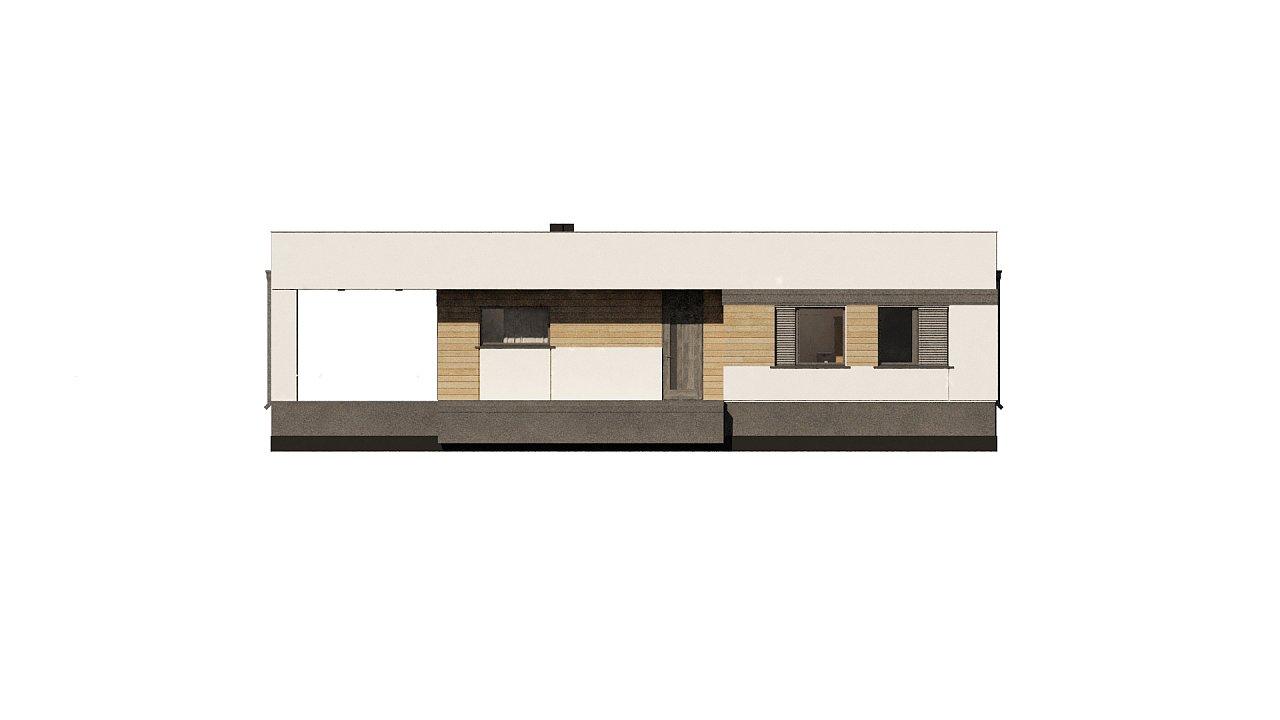 Современный одноэтажный дом хай-тек с навесом для автомобиля 18