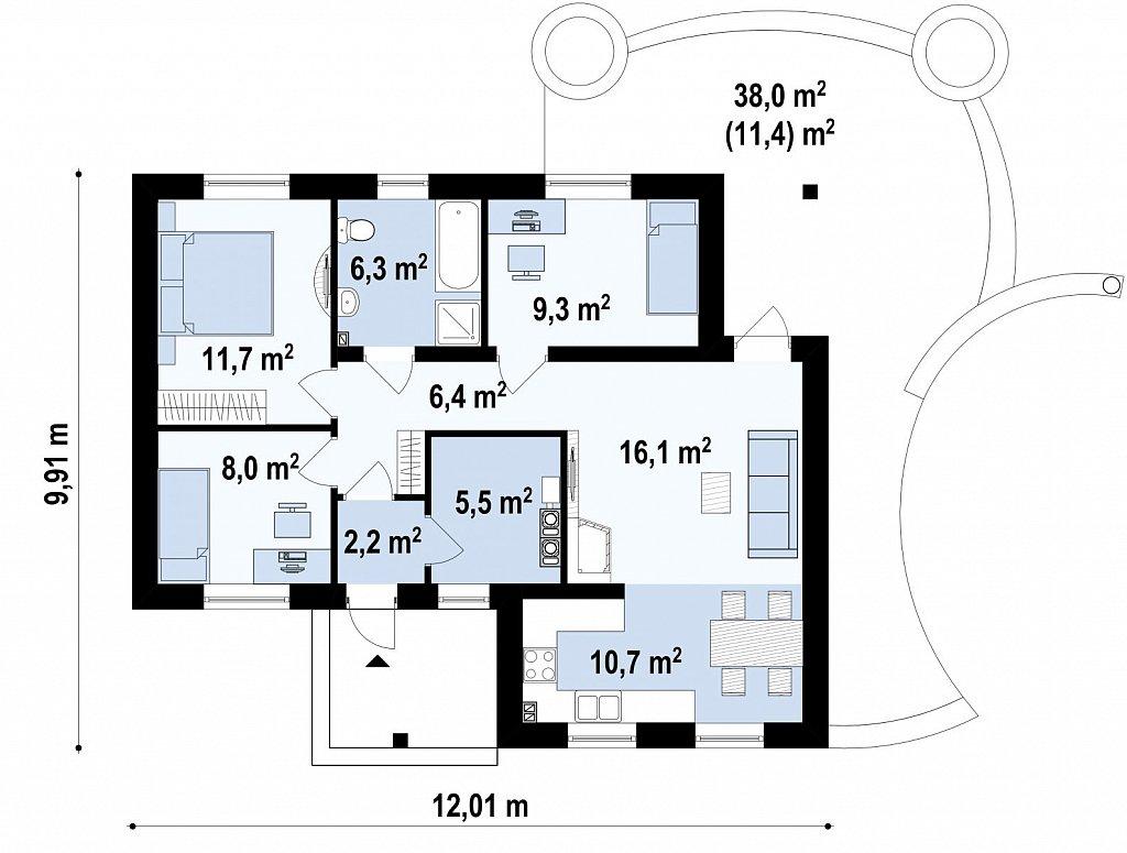 Небольшой комфортный одноэтажный дом в форме буквы «L» с тремя спальнями. план помещений 1