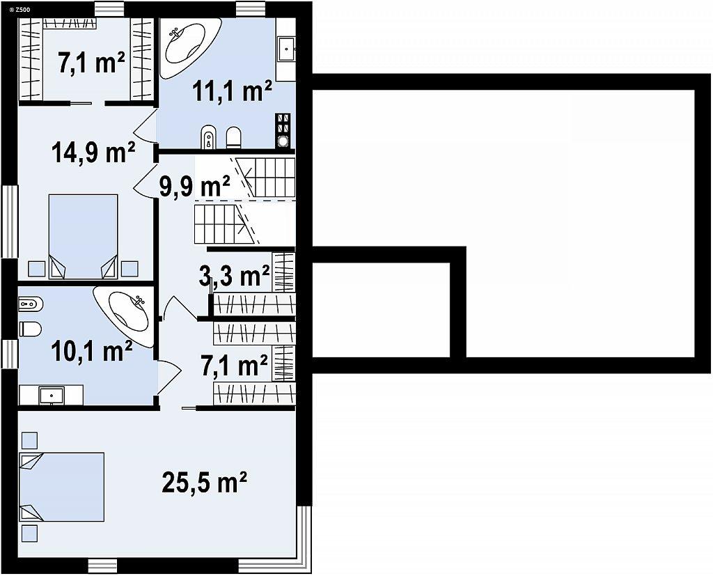 Проект современного дома с плоской кровлей и подземным гаражом. план помещений 2