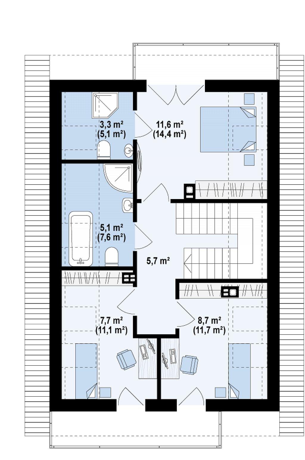 Функциональный аккуратный дом с мансардой, также для узкого участка. план помещений 2