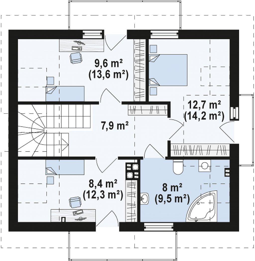 Дом традиционной формы с современными элементами в архитектуре. Уютный и функциональный интерьер. план помещений 2