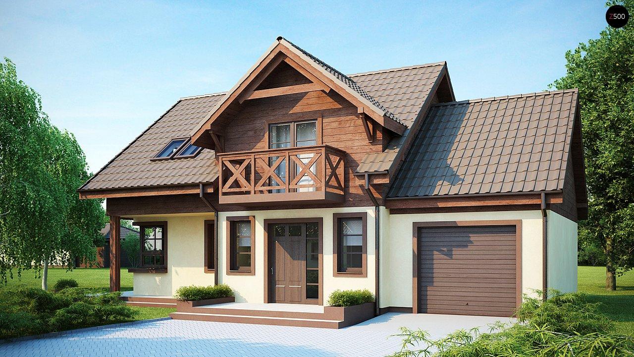 Практичный дом с гаражом, с красивым мансардным окном и боковой террасой. 1