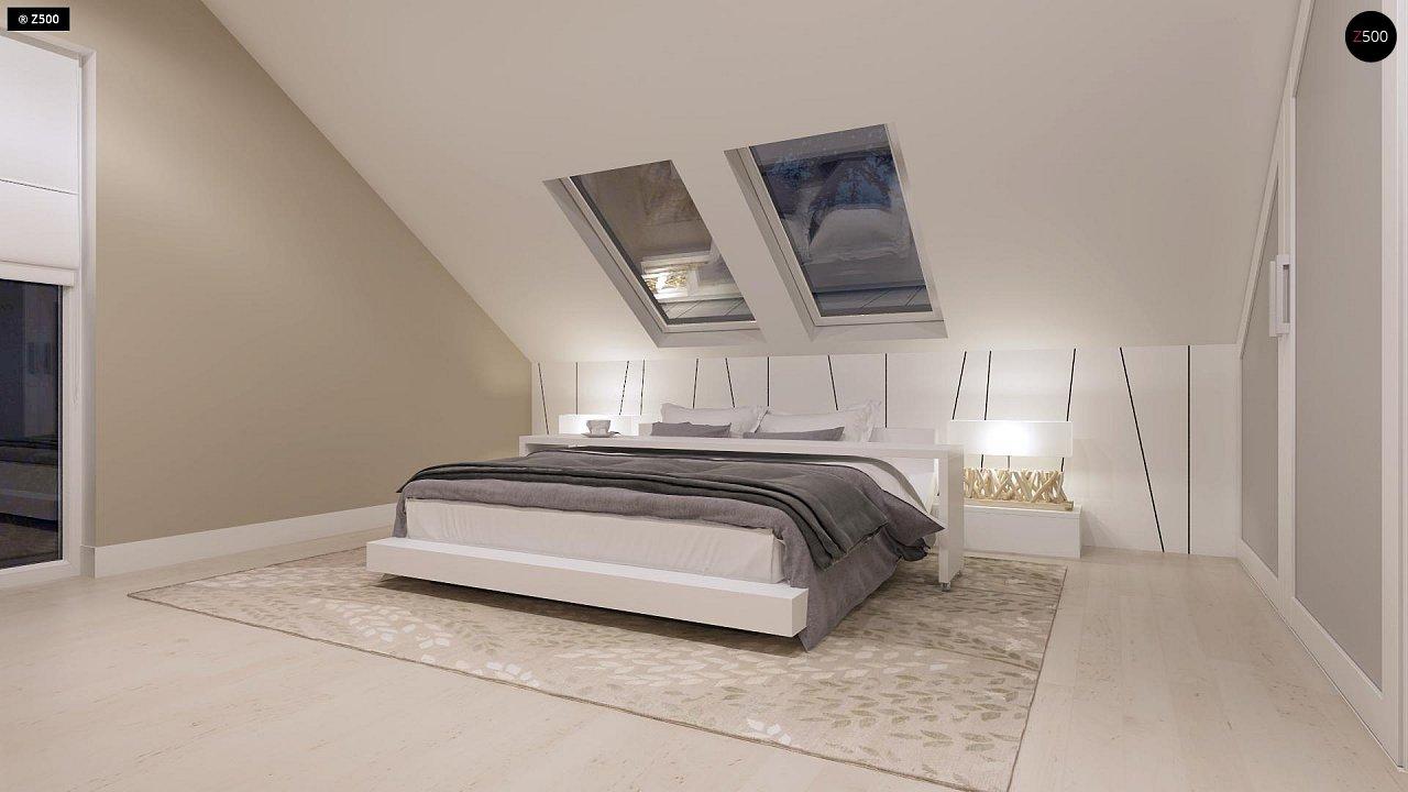 Компактный дом с мансардой, эркером в дневной зоне и c кабинетом на первом этаже. 10