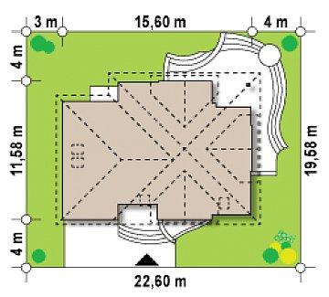 Версия проекта Z18 со встроенным гаражом с левой стороны дома план помещений 1