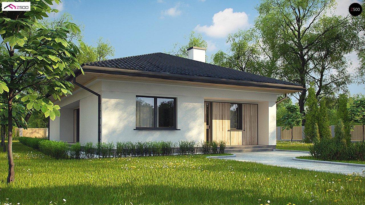 Дом для узкого участка с 4-х скатной крышей - фото 1