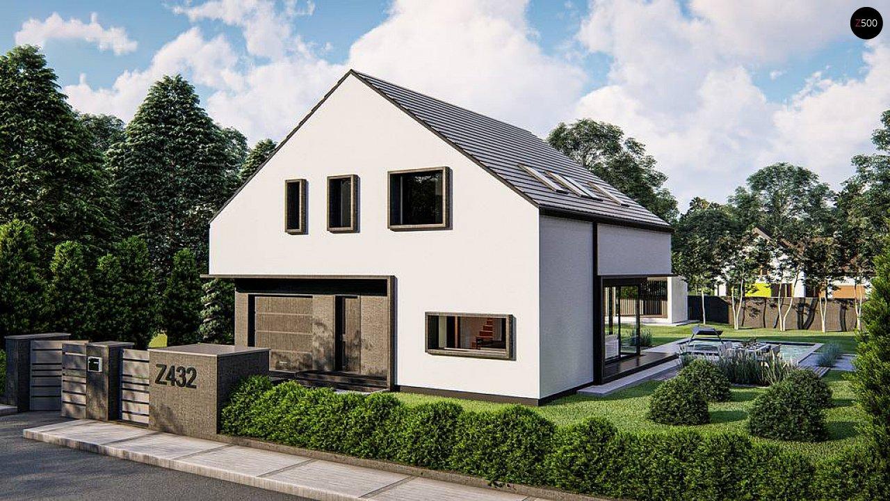 Современный дом с мансардой и двускатной крышей - фото 2
