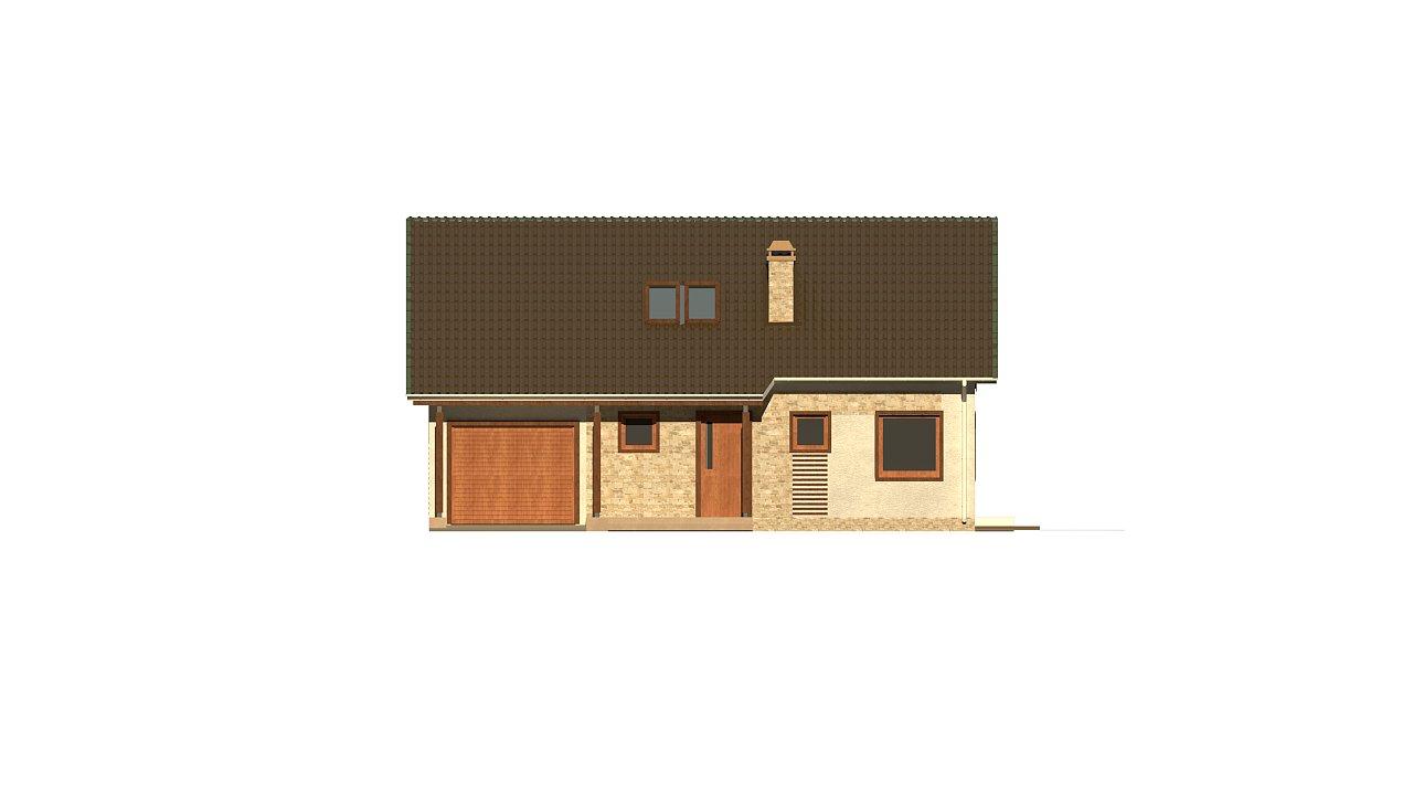 Версия проекта дома Z71 с гаражом, пристроенным слева. 13