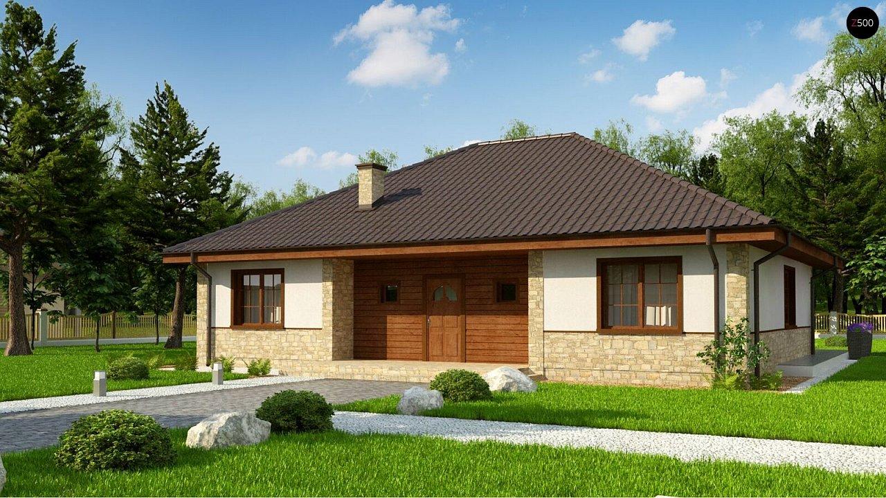 Одноэтажный дом с 4-х скатной кровлей и уютной террасой. - фото 1