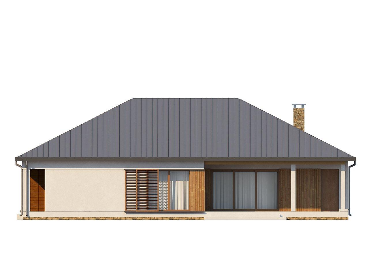Проект практичного одноэтажного дома с фронтальным выступающим гаражом и крытой террасой. 4