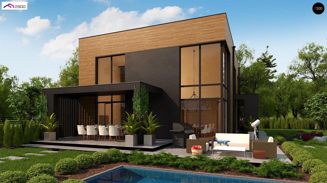 Проект современного двухэтажного дома с вторым светом и большой площадью остекления. - фото 3