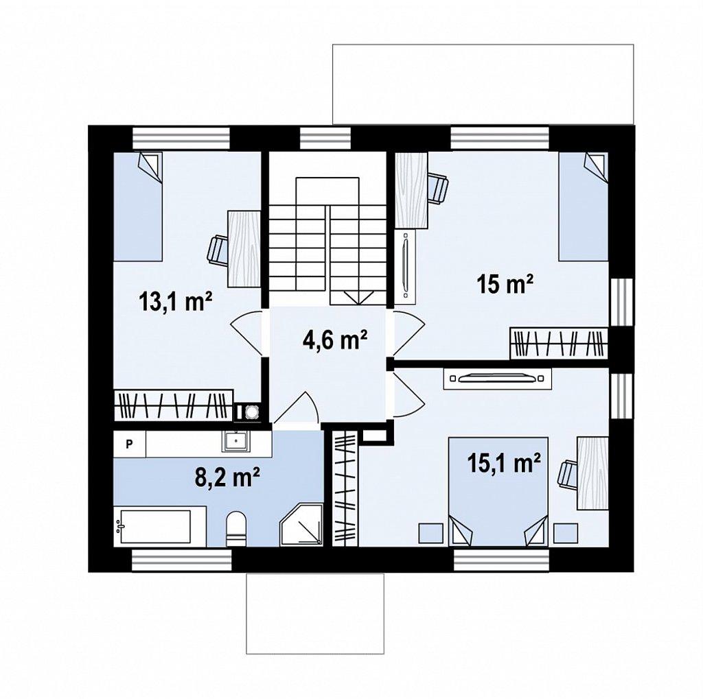 Современный двухэтажный дом с плоской крышей план помещений 2