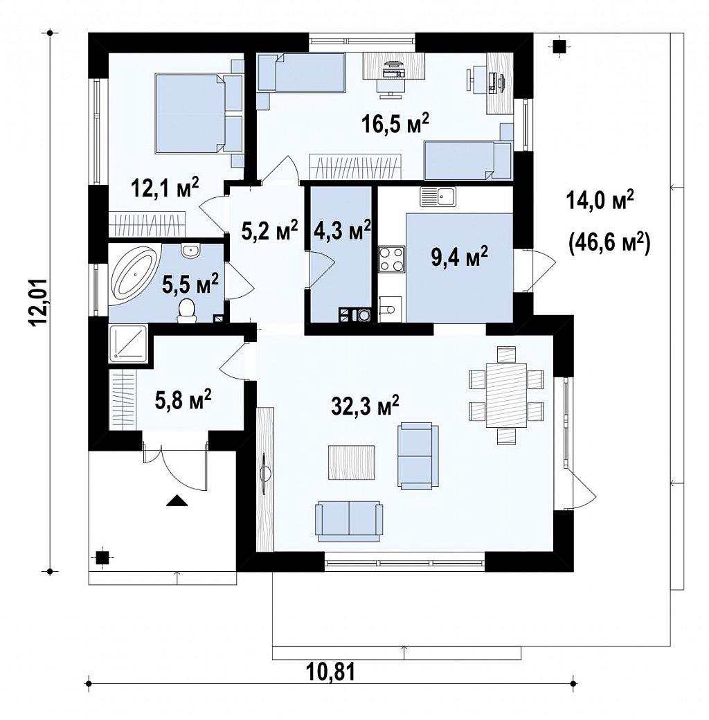 Проект компактного и функционального одноэтажного дома с фронтальным расположением дневной зоны. план помещений 1