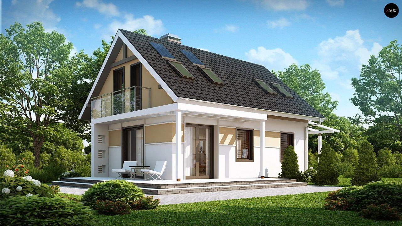 Экономичный в строительстве и реализации дом с удобной планировкой, с навесом для автомобиля. - фото 1
