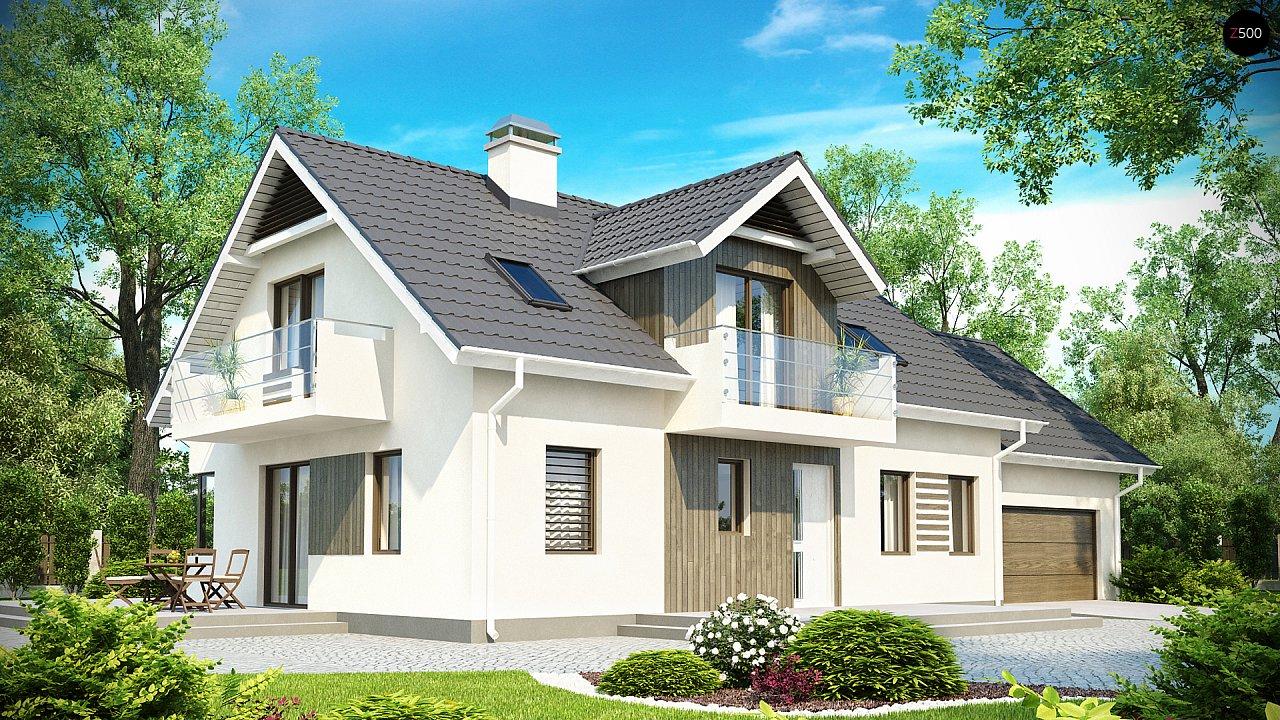 Просторный функциональный дом с гаражом, красивыми мансардными окнами и дополнительной спальней на первом этаже. - фото 1