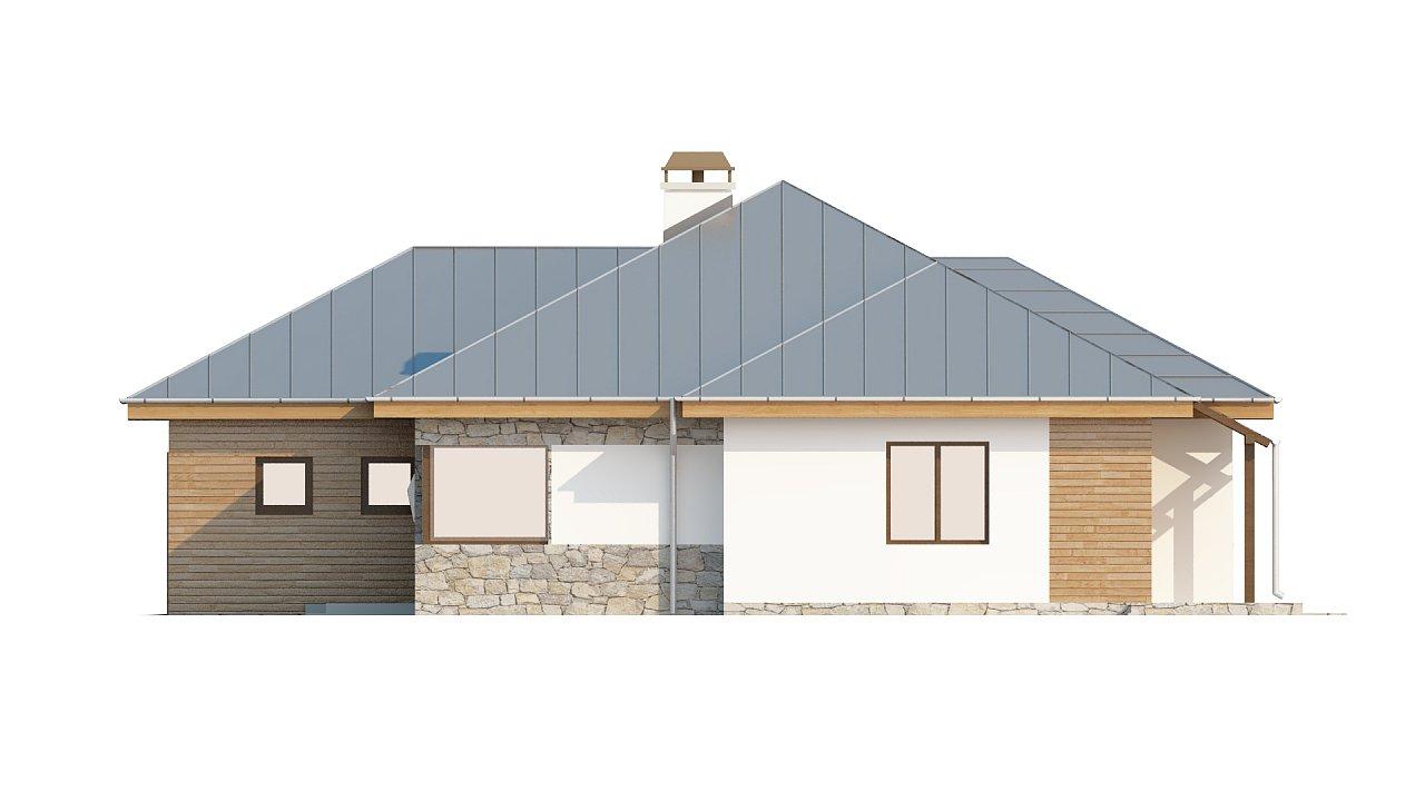Стильный одноэтажный дом с гаражом для двух автомобилей. 4