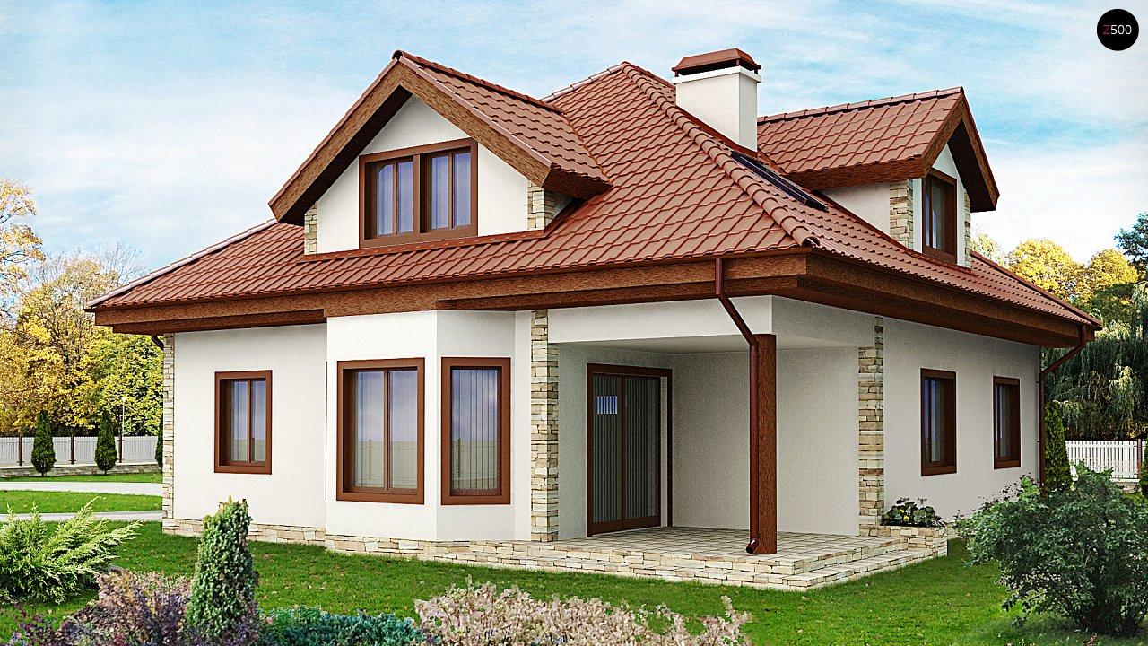 Проект просторного и уютного дома с гаражом, эркером, красивыми мансардными окнами. - фото 2