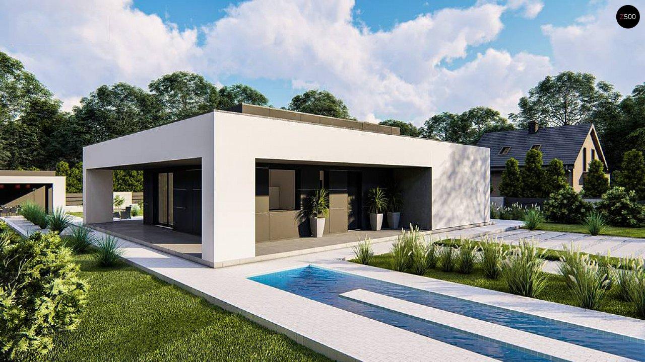Одноэтажный, современный дом с плоской крышей 1
