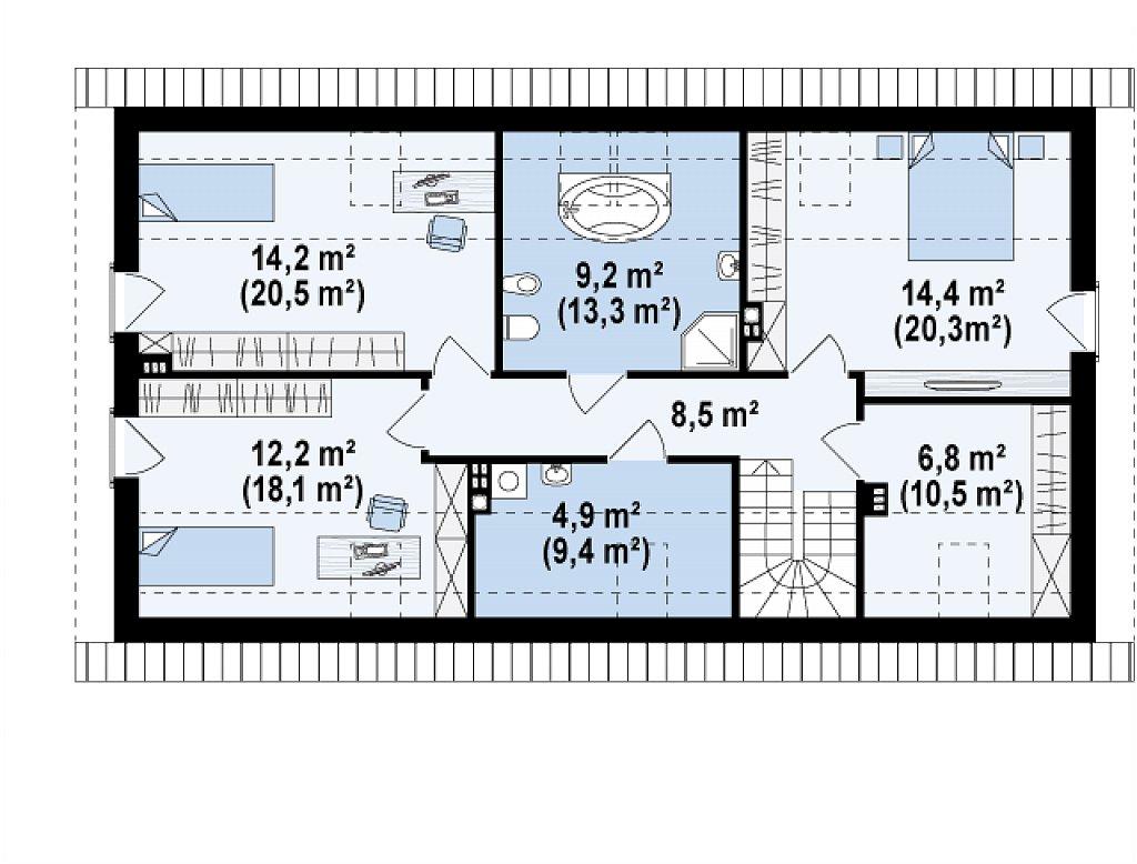 Функциональный удобный двухквартирный дом с отдельными входами в каждую из них. план помещений 2