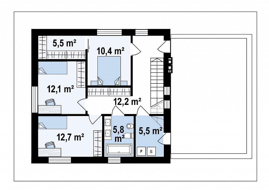 Cовременный двухэтажный дом с плоской крышей и гаражом на две машины. план помещений 2