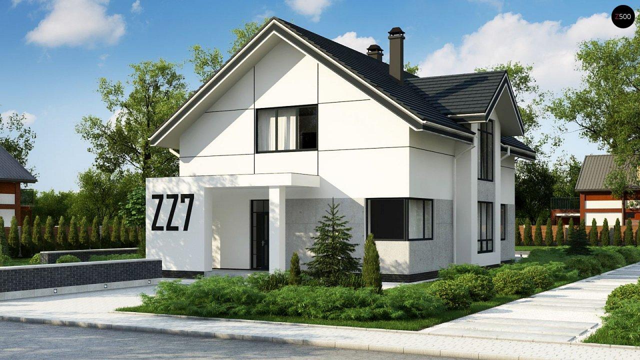 Проект оригинального двухуровневого современного дома без гаража. 1