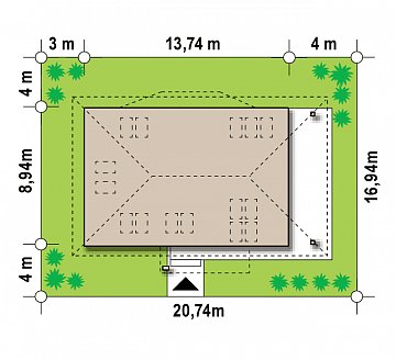 Версия проекта Z85 с современным оформлением фасадов. план помещений 1