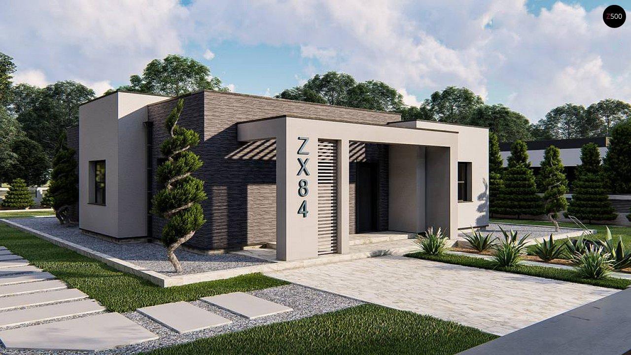 Одноэтажный современный дом с плоской крышей 1